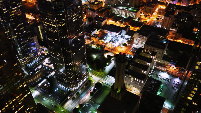 Downtown LA Night Cityscape Time Lapse -Zoom In