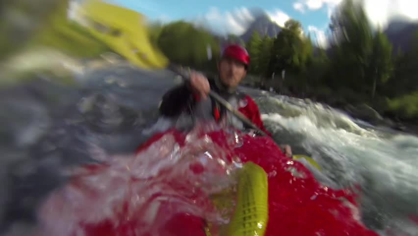 Whitewater kayaking - HD stock video clip