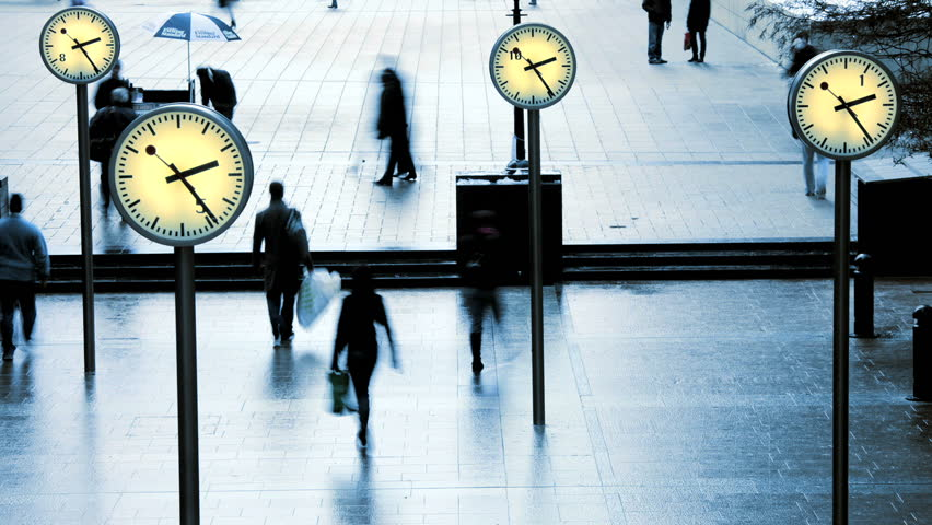 London - February 2011: Time lapse of pedestrian traffic at Canary Wharf, London, United Kingdom