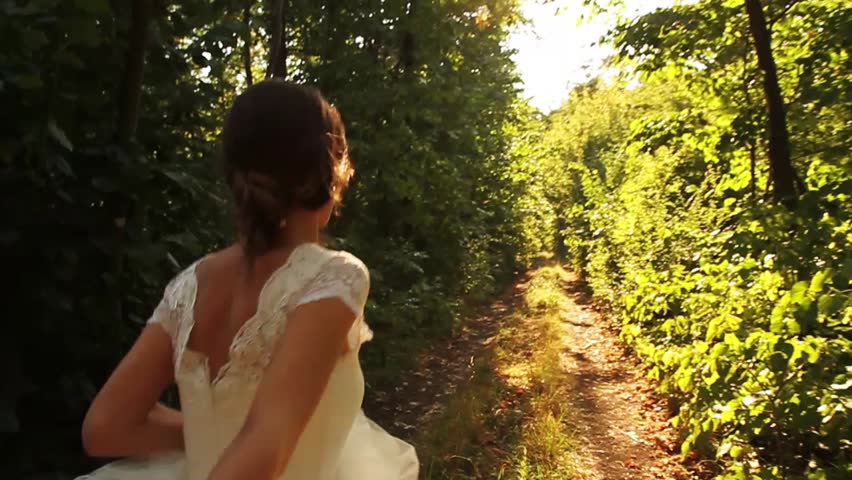 Romantic Wedding Concept Bride Holding Hand Forest Walking | Shutterstock HD Video #4654295