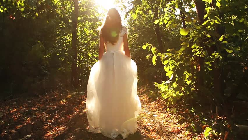 Princess Dress Woman Running Fairy Tale Forest Concept HD #4654322