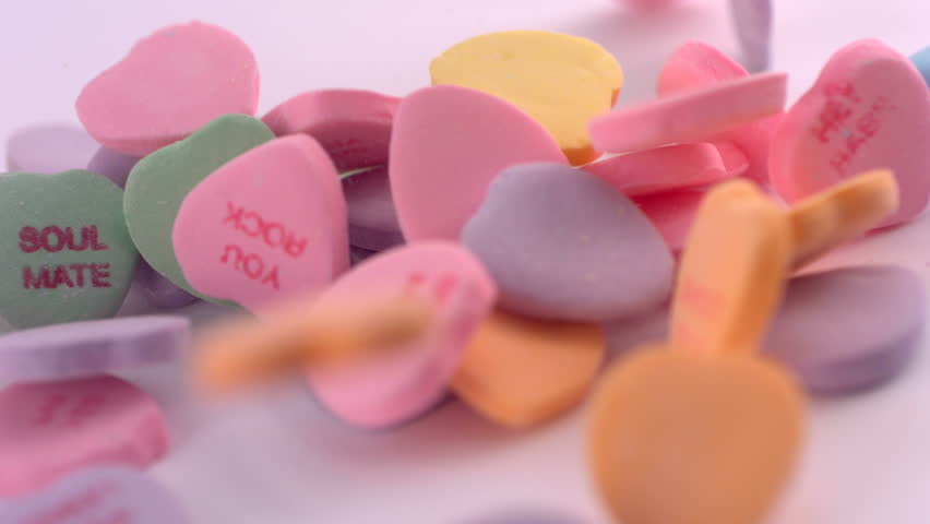 Valentine's Day candy, slow motion - HD stock video clip