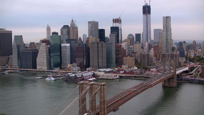 Aerial shot of Brooklyn Bridge, New York City