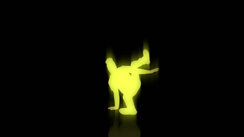 A yellow break dancer tears it up on a black background