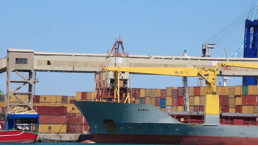 Containerized shipping. Container depot. Seaport in Antalya, Turkey - HD stock footage clip