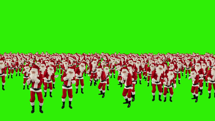 Santa Claus Crowd Dancing, Christmas Party cam fly over, Green Screen