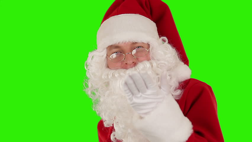 Santa Claus Presenting a White Sheet then sending a Kiss and saying Bye, Green