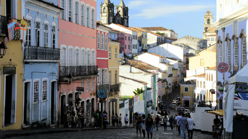 Street view time lapse of pedestrian traffic on a narrow alley in the Historical center Pelourinho in old Salvador, Brazil