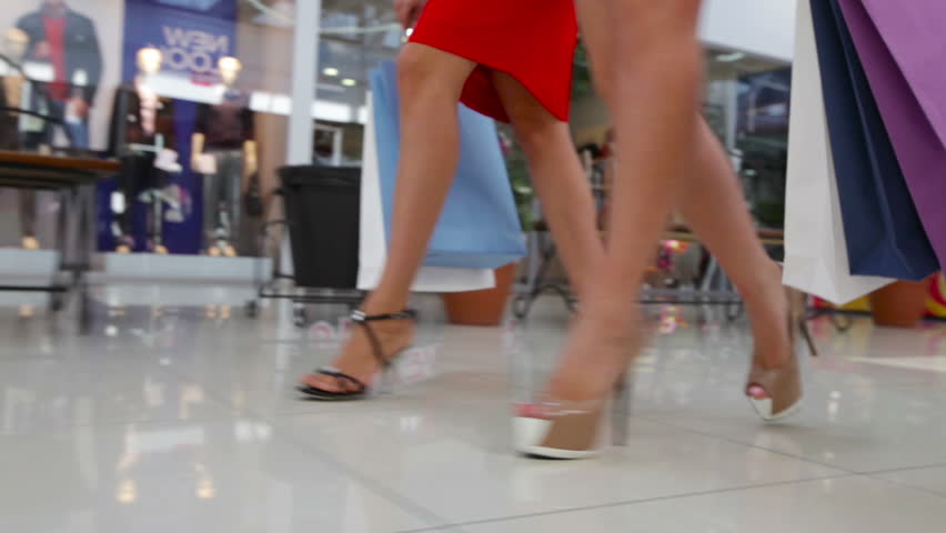 Close-up of shopping girls marching in the mall | Shutterstock HD Video #4685174