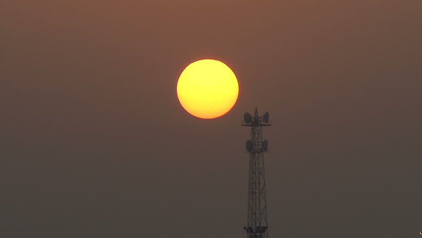 Cyprus Dawn and communications tower - HD stock video clip