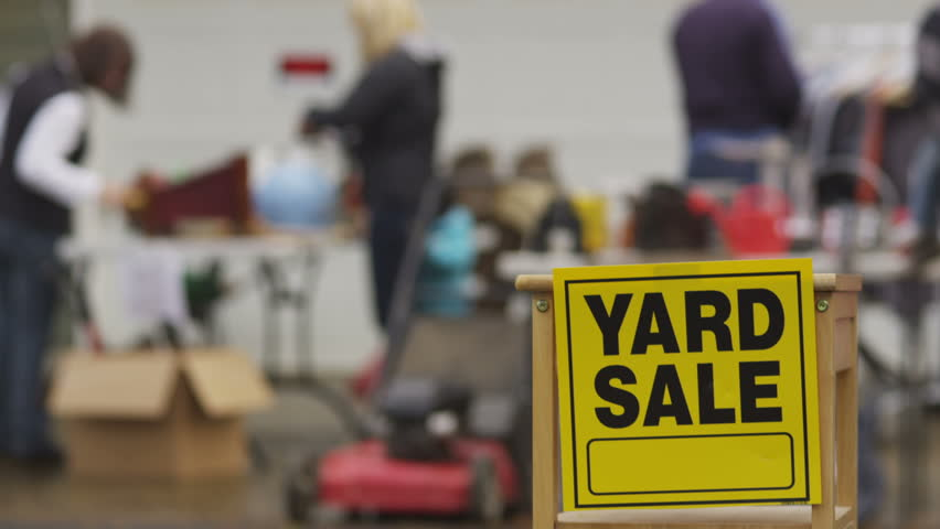 Yard Sale Sign With People In Background Stock Footage Video 4694660 Shutterstock