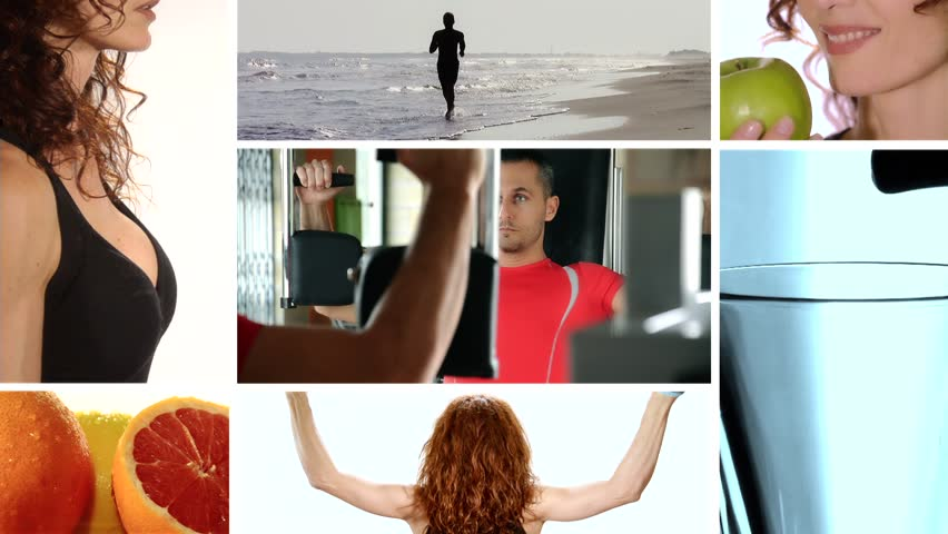 fitness and healthy food, collage