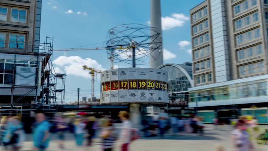World Clock on Alexanderplatz Square in Berlin, Germany (Time Lapse In Motion)