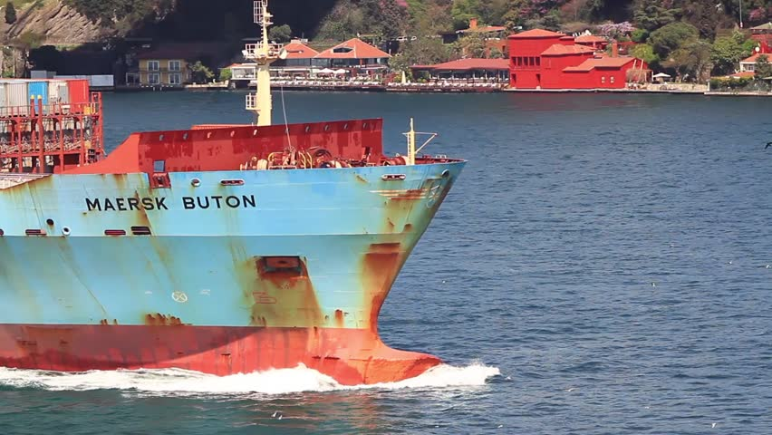 ISTANBUL - APR 13: Container Ship, MAERSKs BUTON (IMO: 9392925, Singapore) on
