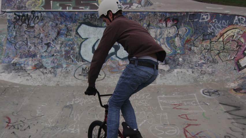 Extreme Sport BMX rider Tailwhip close Up - HD stock video clip