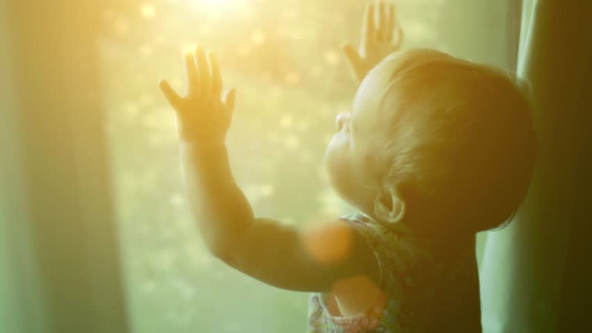 The child looks at the magic behind the window | Shutterstock HD Video #4719680