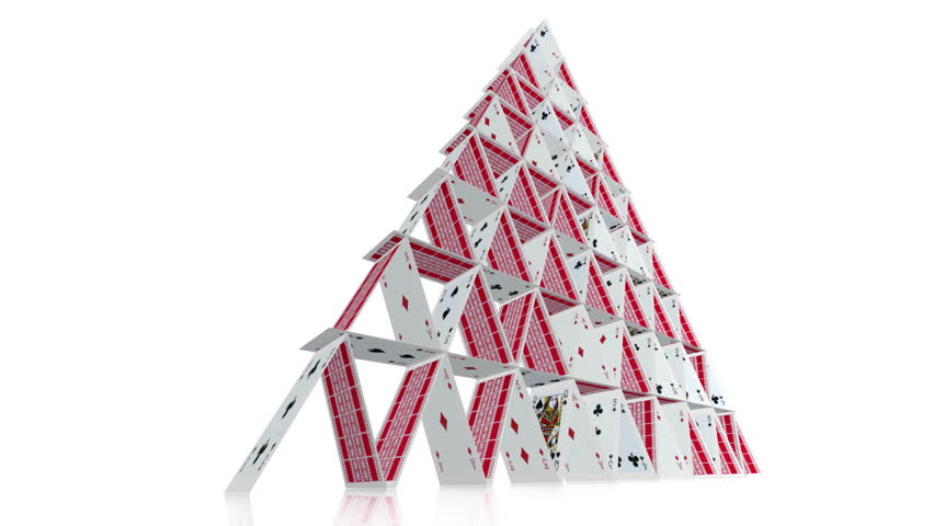 Collapsing House Of Cards. A Playing Card House Of Cards ... House Of Playing Cards