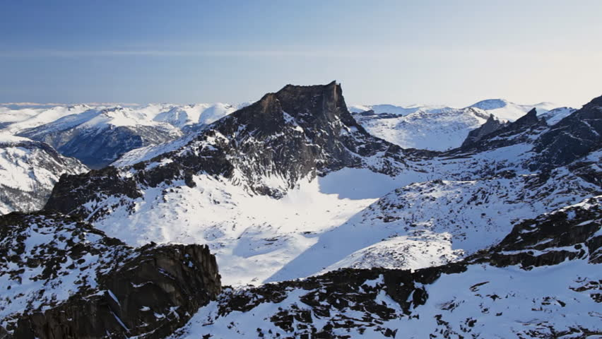 Winter. The Mountain landscape. Helicopter point of view. #4725152