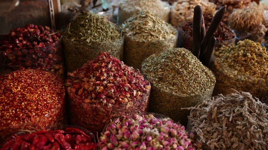 Spices on display at market in Dubai, United Arab Emirates