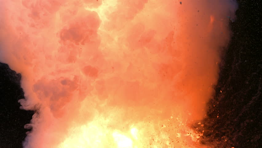 Fireball explosion closeup, slow motion