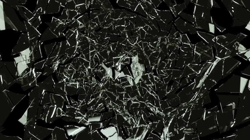 Cracked and Shattered black glass with slow motion. Alpha is included