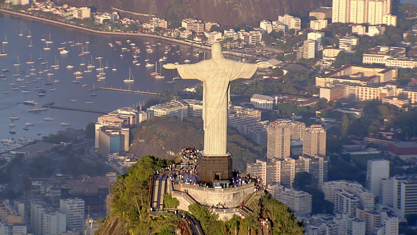 Aerial view of Christ the Redemeer Statue and bay with sail boats, Rio de Janeiro, Brazil