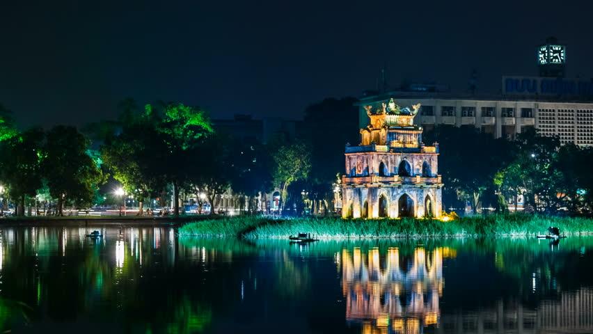 HANOI - 16 SEPTEMBER: Time Lapse view of Turtle Tower on Hoan Kiem lake - Hanoi,