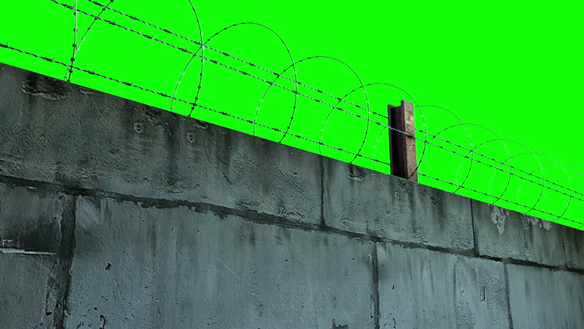 barbed wire and concrete wall green-screen