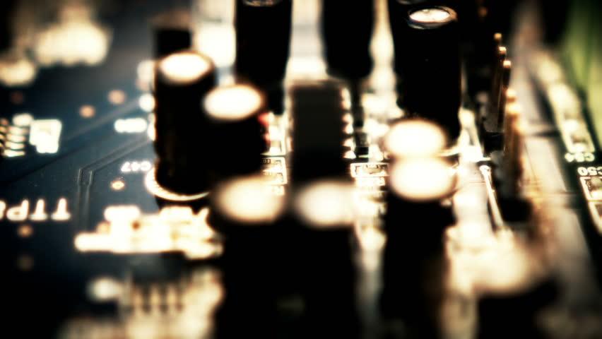 Printed Circuit Board PCB  Close up sliding shot...