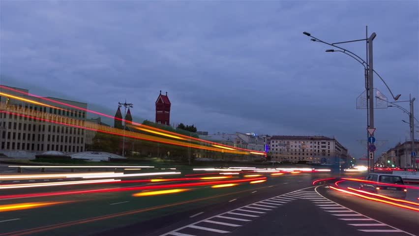 From day to night city traffic. Zoom out, time-lapse shot | Shutterstock HD Video #4801778
