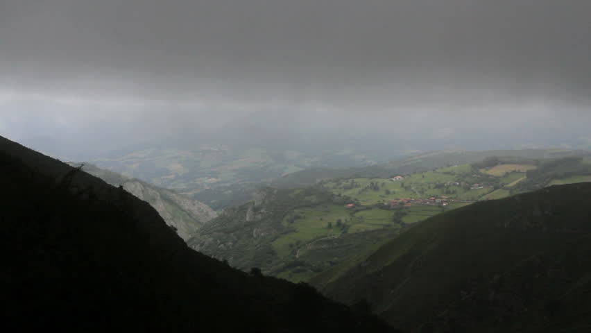 Spain Cantabrian valley in mist - HD stock footage clip