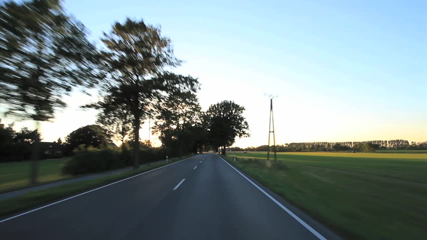 Driving - Driving shot with roof mounted camera on a road in Germany.  - HD stock footage clip