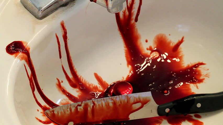 Cleaning Up Bloody Knife And Sink Horror Clip Stock ...