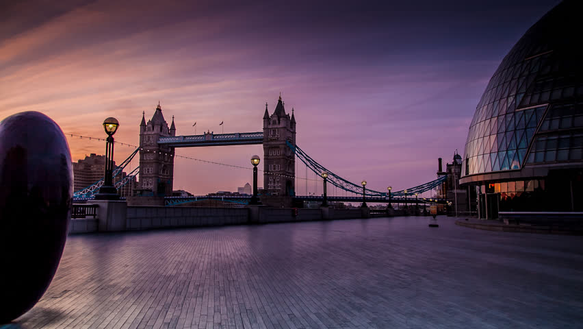 Tower Bridge Sunrise, London Tracking Time-lapse #4841630
