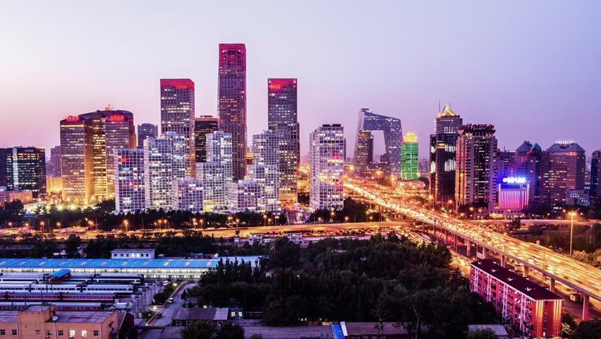 Jianwai SOHO,the CBD skyline sunset in Beijing,China | Shutterstock HD Video #4849919