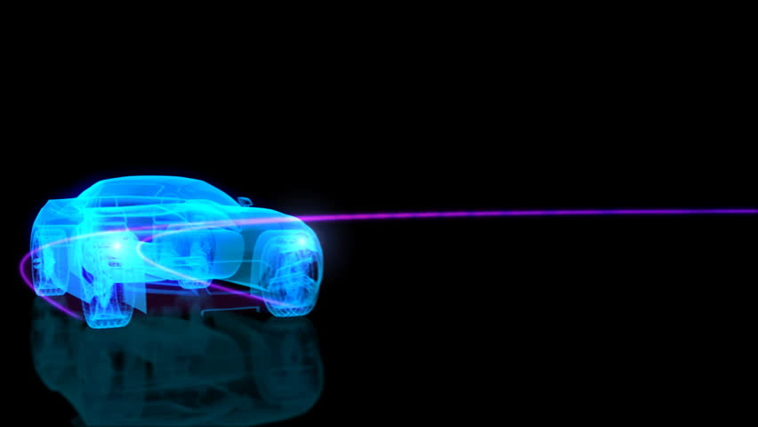X-ray sports car on a abstract road. - HD stock video clip