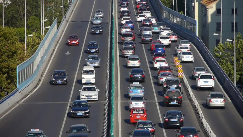 traffic on overpass,traffic jam. gh2_06732 - HD stock video clip