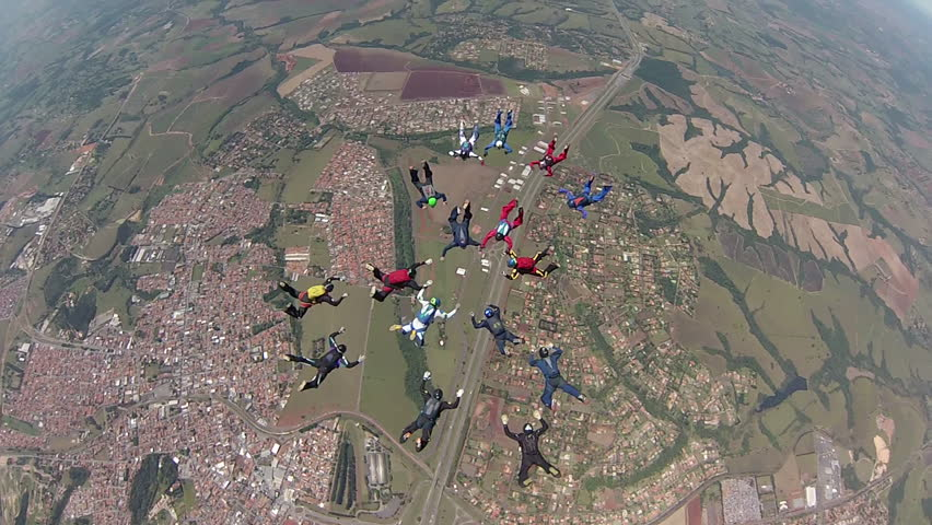 Skydiving Formation - HD stock video clip