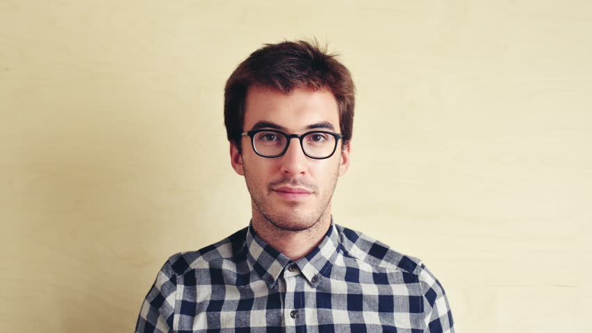 Hipster man portrait looking stylish as camera slowly tracks forward #4862438
