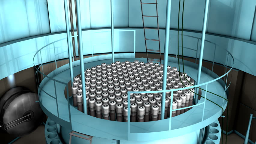 Artist rendering, Nuclear reactor interior view. - HD stock footage clip