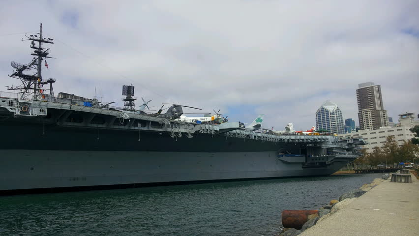 San Diego, California - September 25, 2013 - Panoramic Timelapse of the USS Midway Aircraft Carrier and Maritime Museum.