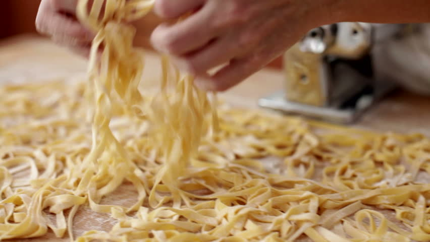 Cutting Fresh Pasta Made With Eggs: Italian Typical Pasta ...