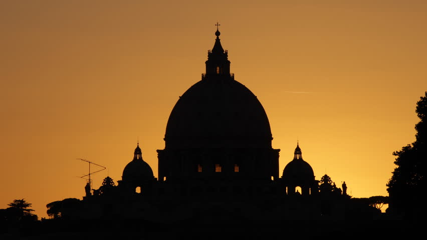 Sunset St. Peter's Basilica, Vatican City, Rome, papa benedict, dome, cupola - HD stock footage clip