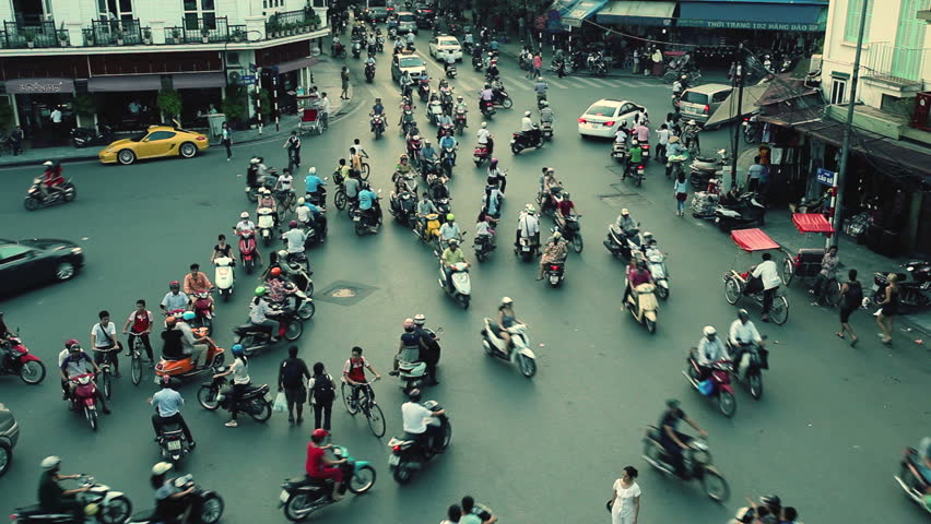 HANOI - SEPTEMBER 17: Timelapse view of crazy traffic in Hanoi Hoan Kiem