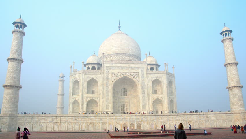 AGRA, INDIA - NOVEMBER 17, 2012: timelapse in motion - Taj Mahal in Agra India,