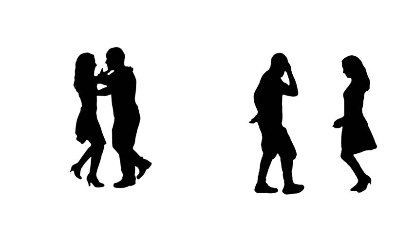 2 Couples silhouettes dancing salsa. Alpha matte.  More options in my portfolio.