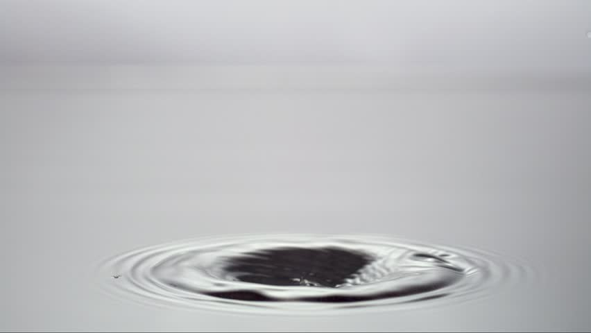 a slow motion water drop hitting another water drop, water color white, shot with high speed camera Weisscam HS-2