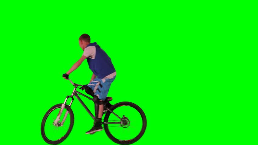 Boy on bike. Green screen footage.  | Shutterstock HD Video #4933997