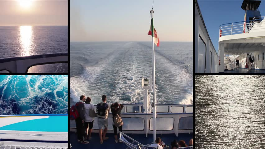 ferry boat composition - HD stock footage clip