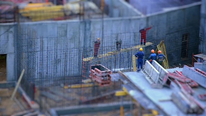 The work of builders. Tilt shift. Time lapse